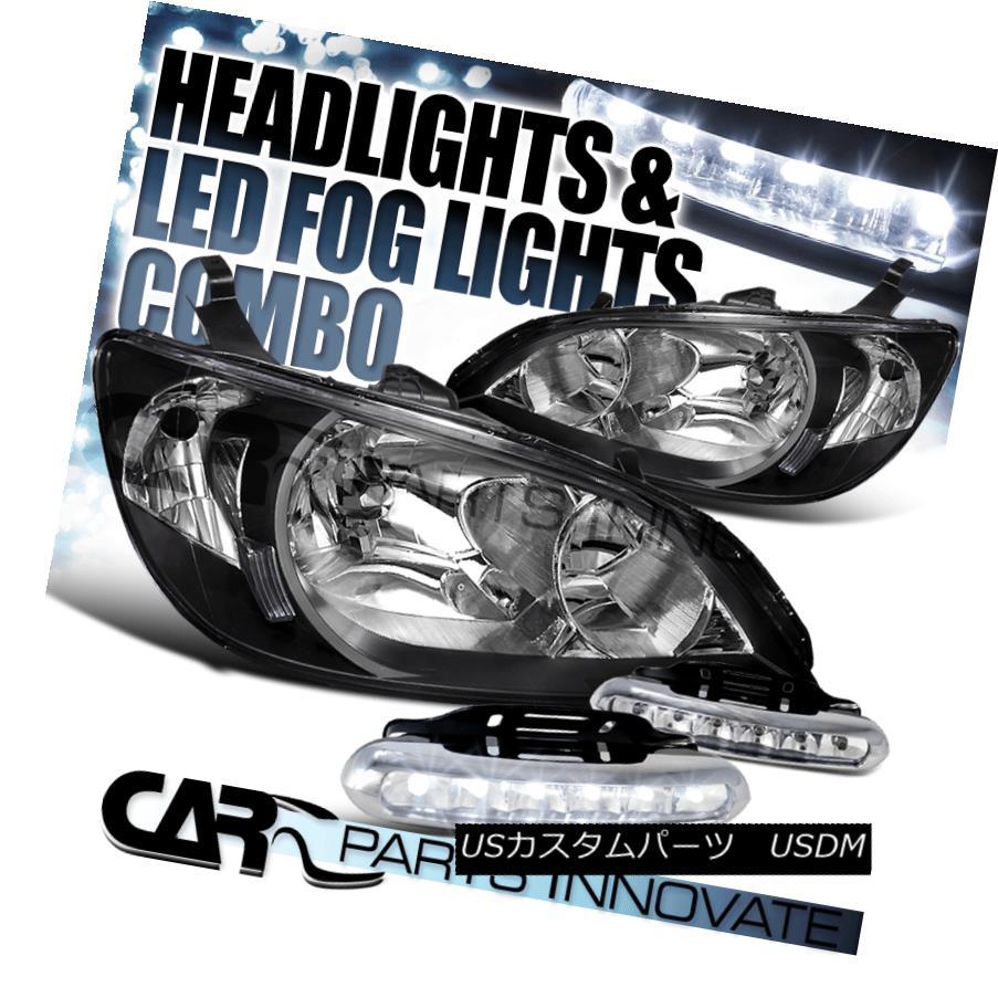 ヘッドライト Fit 2004-2005 Honda Civic EX LX Black Clear Headlights+6-LED Fog Lamp Left+Right フィット2004-2005ホンダシビックEX LXブラッククリアヘッドライト+ 6-L  EDフォグランプ左+右