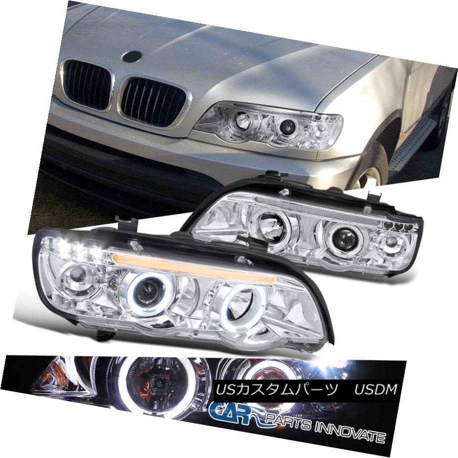 ヘッドライト 01-03 BMW E53 X5 Replacement Halo LED Clear Projector Headlights Head Lamps Pair 01-03 BMW E53 X5交換用ハローLEDクリアプロジェクターヘッドライトヘッドランプペア