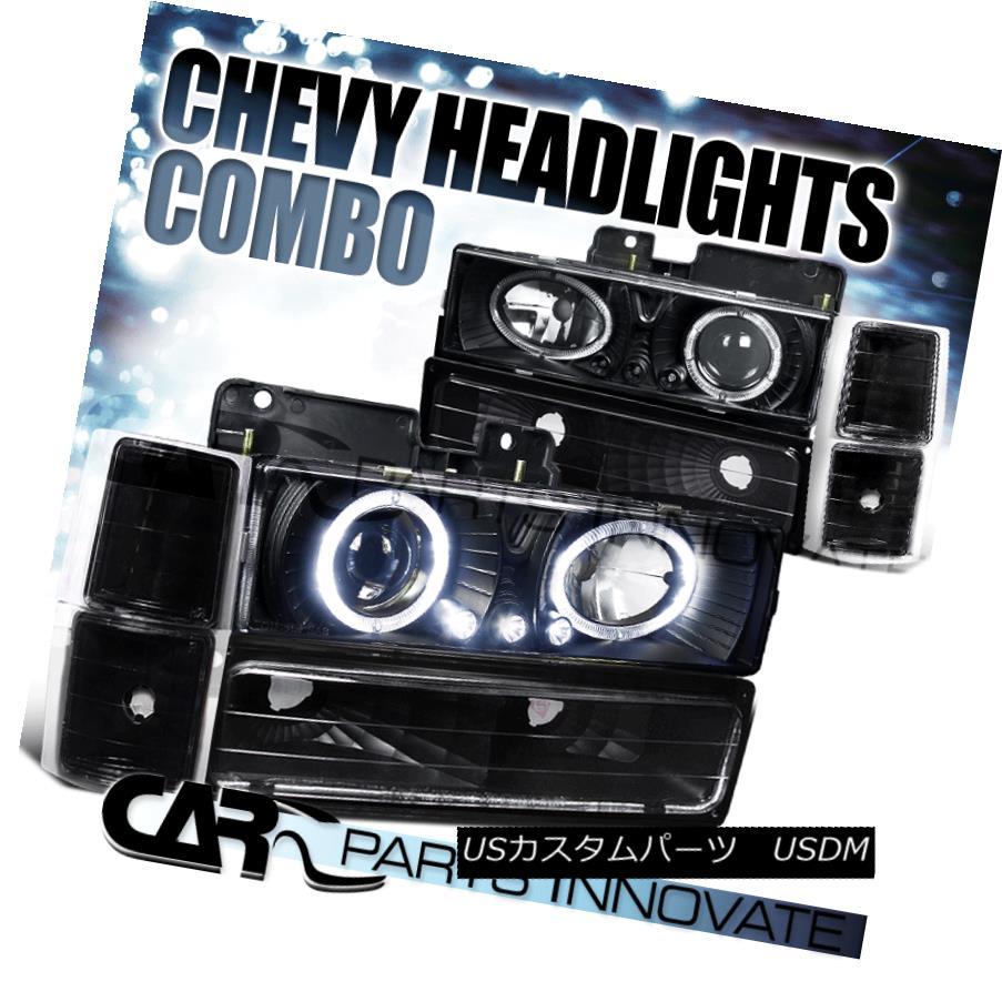 ヘッドライト 94-98 C10 C/K Suburban Halo LED Projector Headlights+Bumper Corner Lamps Black 94-98 C10 C / K郊外型Halo LEDプロジェクター・ヘッドライト+ Bum