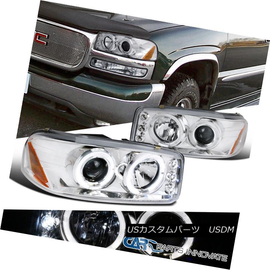 ヘッドライト GMC 00-06 Sierra Yukon Denali XL LED Clear Halo Projector Headlights Head Lamps GMC 00-06シエラユーコンデナリXL LEDクリアハロープロジェクターヘッドライトヘッドランプ