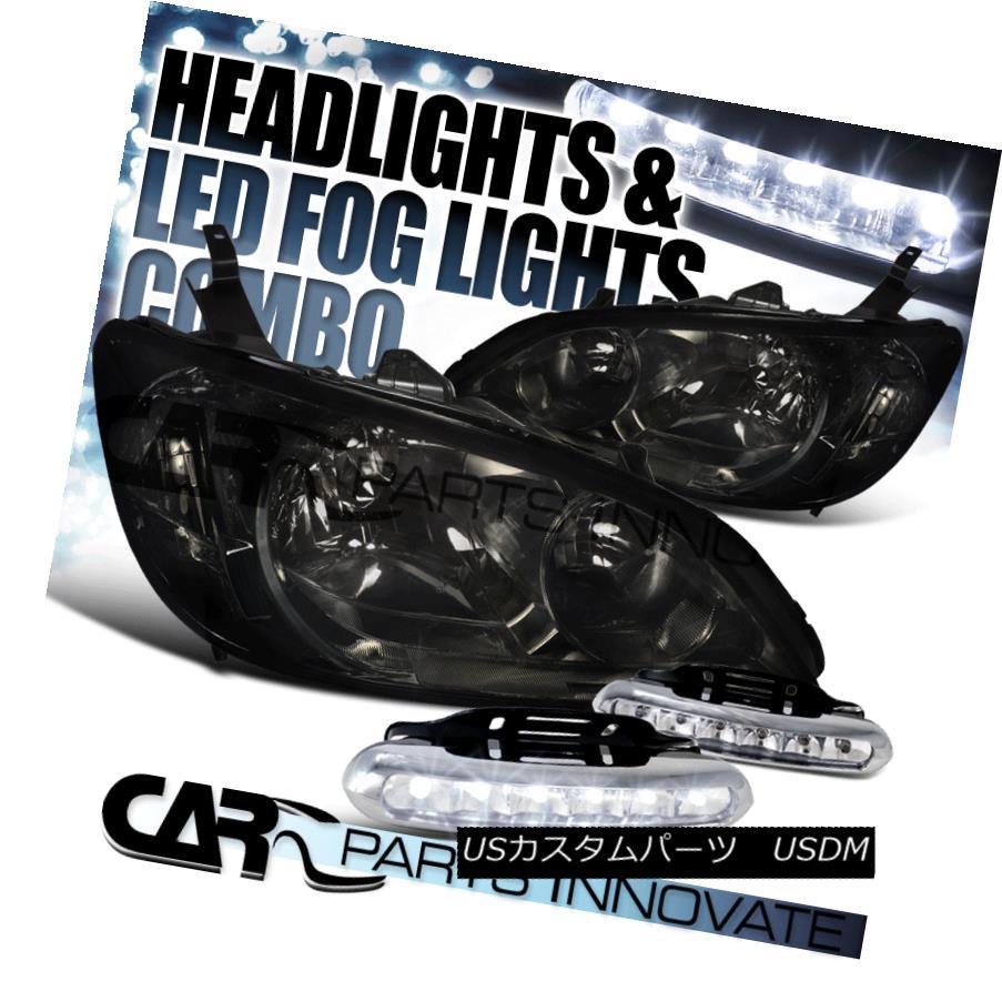 ヘッドライト For Honda 04-05 Civic 2/4Dr JDM Crystal Smoke Tint Headlights+6-LED Fog Lamps ホンダ用04-05シビック2 / 4Dr JDMクリスタルスモークティントヘッドライト+ 6-L  EDフォグランプ
