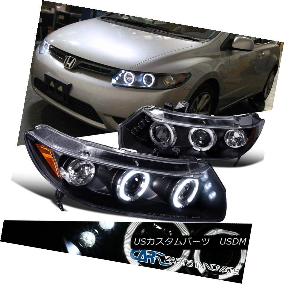 ヘッドライト Fit Honda 06-11 Civic 2Dr LED Halo Projector Headlights Lamp Black フィットホンダ06-11シビック2Dr LEDハロープロジェクターヘッドライトランプブラック