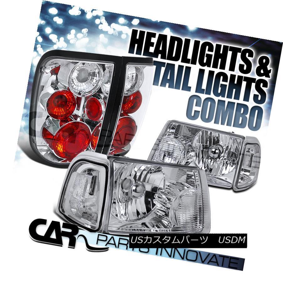 ヘッドライト 01-05 Ranger Chrome Crystal Headlights+Clear Corner Signal Lamp+Tail Light 01-05レンジャークロームクリスタルヘッドライト+ Cle  arコーナー信号ランプ+テールライト