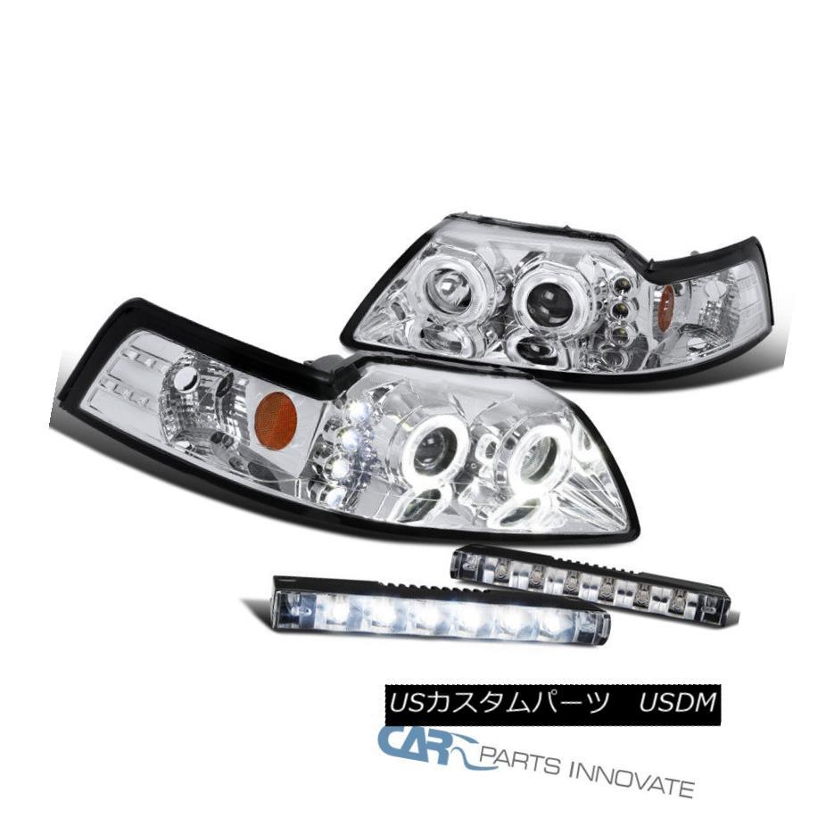 ヘッドライト Ford 99-04 Mustang Clear Halo Projector Headlights+Slim LED Fog Bumper Lamps フォード99-04ムスタングクリアハロープロジェクターヘッドライト+スリ m LEDフォグバンパーランプ
