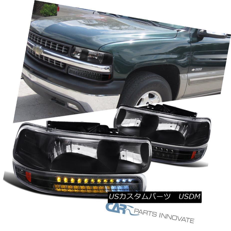 ヘッドライト 99-02 Silverado 00-06 Suburban Tahoe Black Headlights+LED Bumper Signal Lamps 99-02シルバラード00-06郊外のタホブラックヘッドライト+ LEDバンパーシグナルランプ