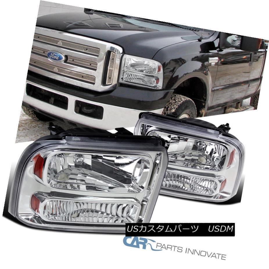 ヘッドライト Ford 05-07 F250/F350/F450/F550 SuperDuty 05 Excursion Chrome Clear Headlights フォード05-07 F250 / F350 / F450  / F550 SuperDuty 05エクスカーションクロームクリアヘッドライト