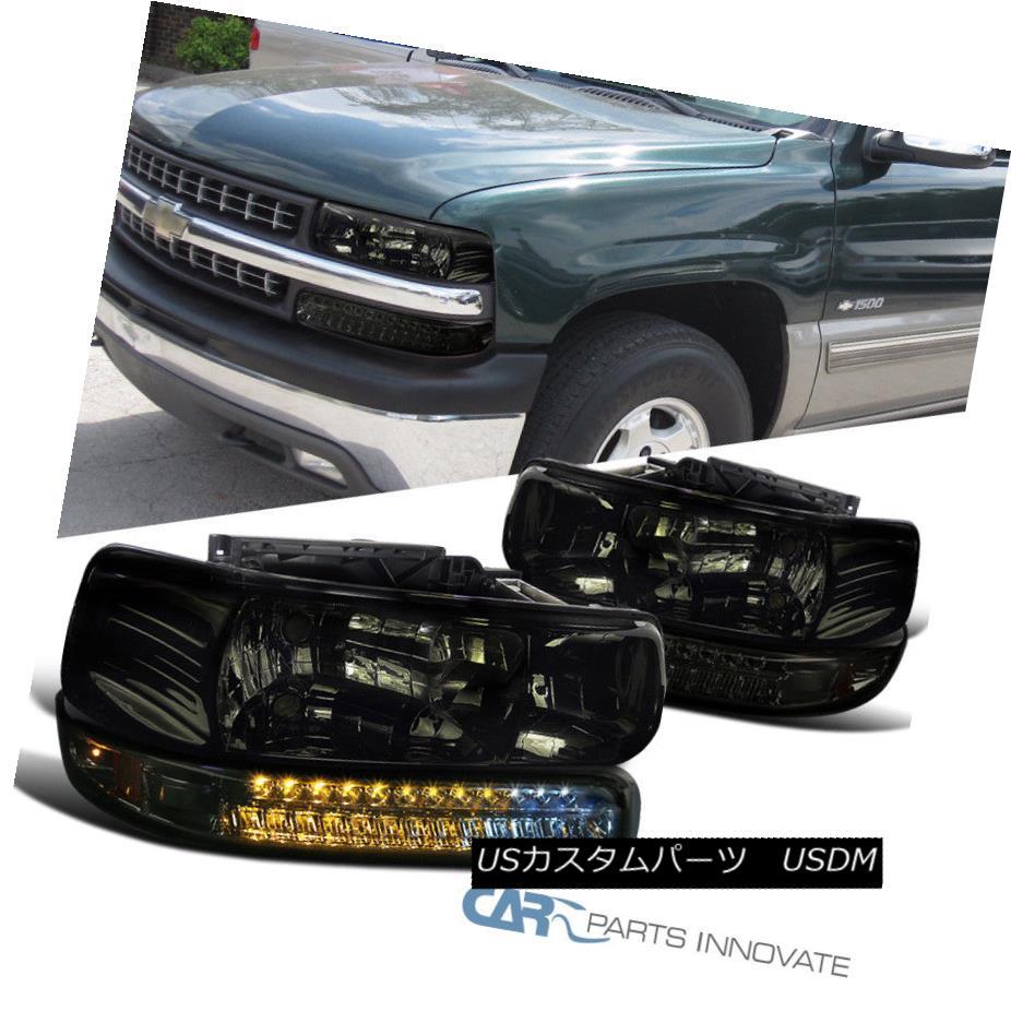 ヘッドライト 99-02 Silverado 00-06 Suburban Tahoe Smoke Headlights+LED Bumper Signal Lamps 99-02 Silverado 00-06郊外のタホ煙のヘッドライト+ LEDバンパーシグナルランプ