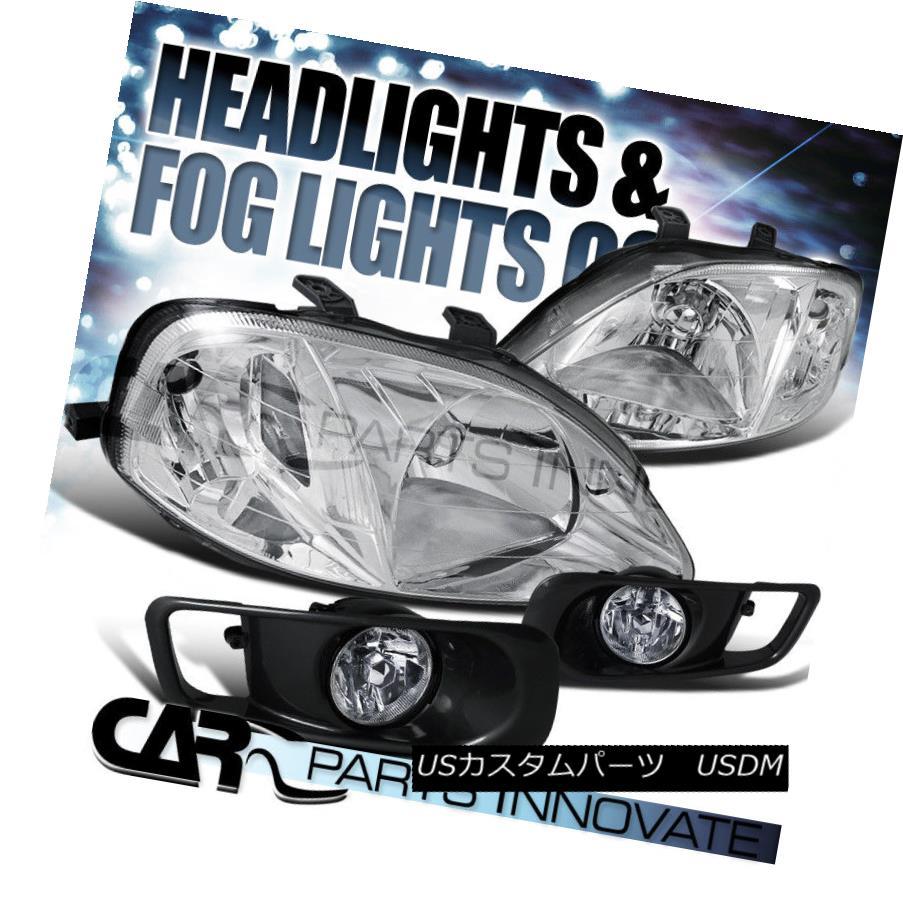 ヘッドライト Fit 1999-2000 Honda Civic 2/3/4Dr Chrome Headlights+Clear Fog Bumper Lamp 適合1999-2000 Honda Civic 2/3 / 4Drクロームヘッドライト+クリーク arフォグバンパーランプ