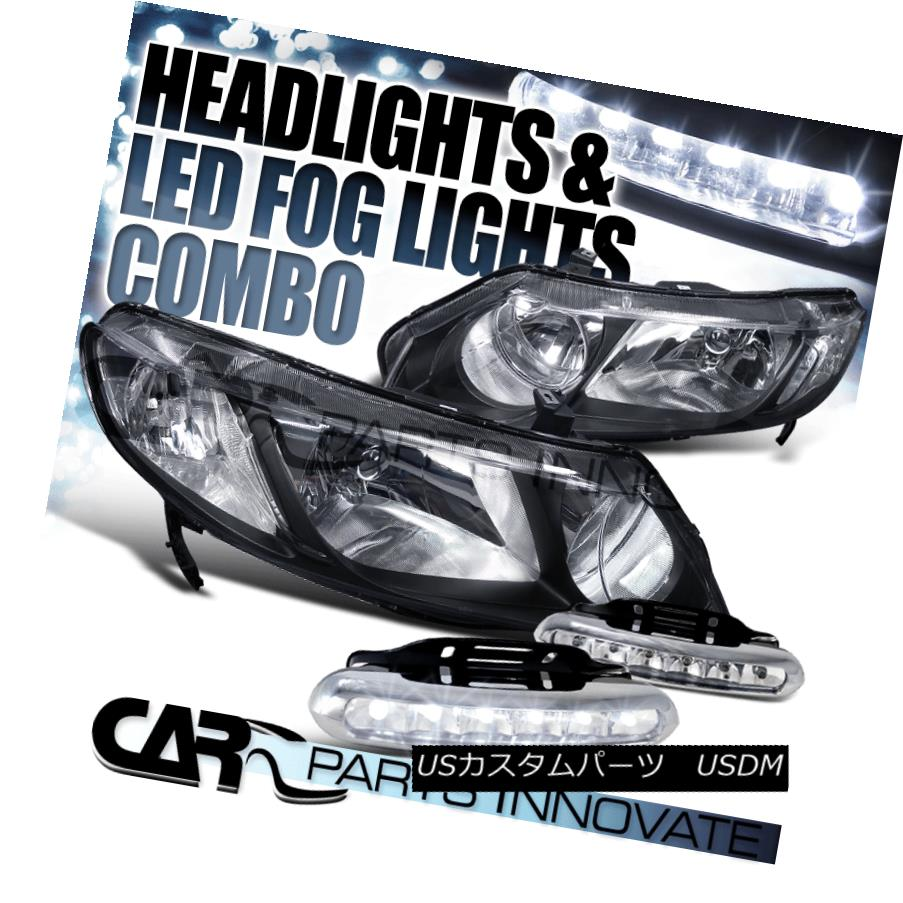 ヘッドライト Fit Honda 06-11 Civic 4Dr Sedan Diamond Black Headlights+6-LED Fog Lamps Fond Honda 06-11シビック4Drセダンダイヤモンドブラックヘッドライト+ 6-L  EDフォグランプ