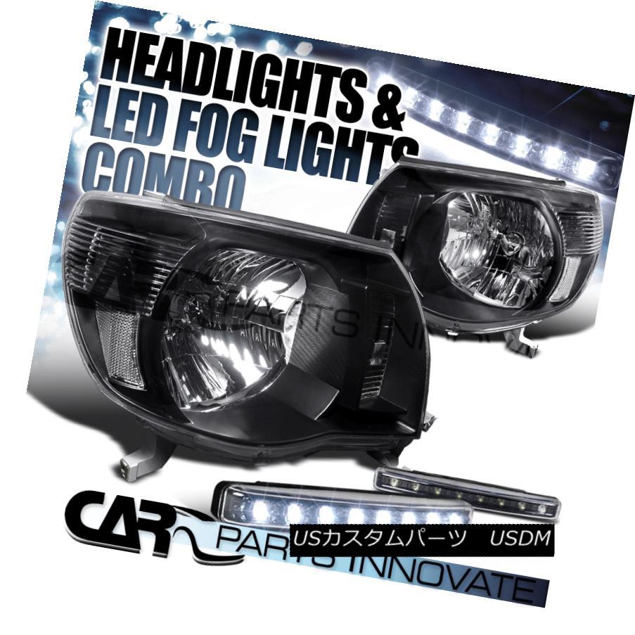 ヘッドライト For 05-11 Toyota Tacoma Pickup Black Head Lights Pair+8-LED DRL Bumper Fog Lamps 05-11トヨタタコマピックアップ用ブラックヘッドライトペア+ 8-LED DRLバンパーフォグランプ
