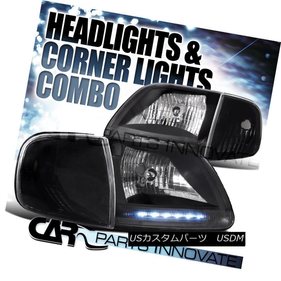 ヘッドライト 1997-2003 Ford F150 1997-2002 Expedition Black LED DRL Headlights+Corner Lamp 1997-2003フォードF150 1997-2002遠征黒LED DRLヘッドライト+コルク nerランプ