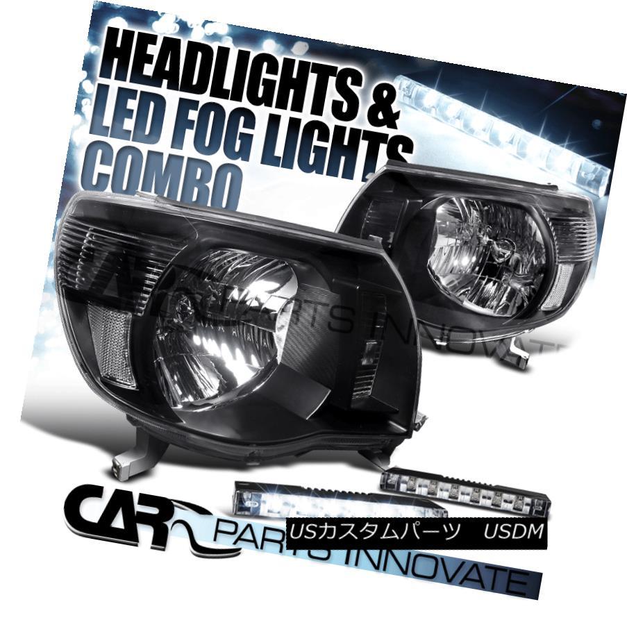 ヘッドライト For 05-11 Toyota Tacoma JDM Diamond Black Headlights+Slim 6-LED Bumper Fog Lamps 05-11トヨタタコマJDMダイヤモンドブラックヘッドライト+スリ m 6-LEDバンパーフォグランプ