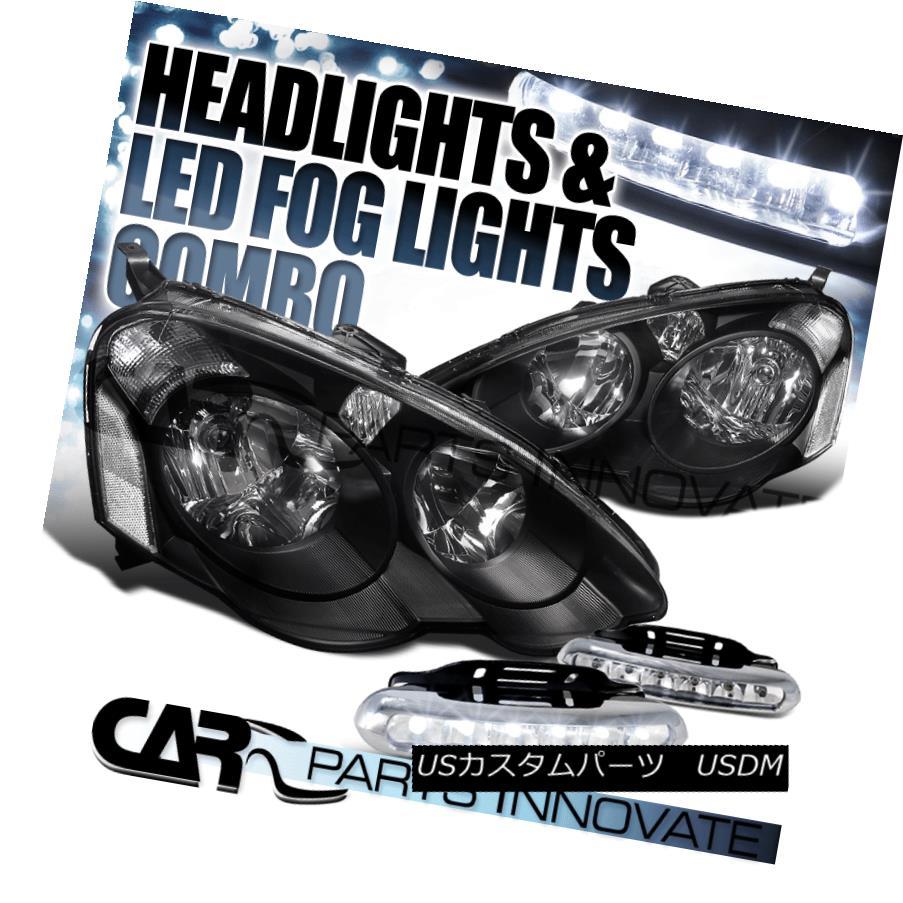 ヘッドライト Acura 02-04 RSX Black Clear Diamond Headlights+6-LED Bumper Fog Lamps アキュラ02-04 RSXブラッククリアダイヤモンドヘッドライト+ 6-L  EDバンパーフォグランプ