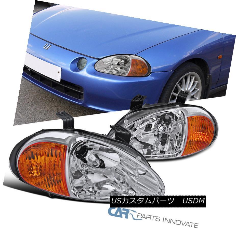 ヘッドライト For 93-97 Honda del Sol JDM Replacement Clear Headlights Driving Head Lamps Pair 93-97ホンダ・デル・ソル用JDM交換用クリアヘッドライトドライビングヘッドランプペア
