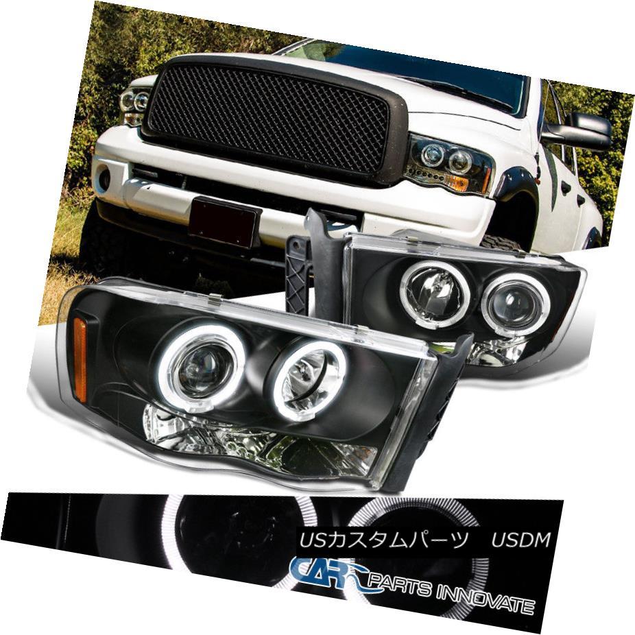 ヘッドライト Dodge 02-05 Ram 1500 2500 3500 Pickup LED Halo Projector Headlights Lamps Black ドッジ02-05 Ram 1500 2500 3500ピックアップLEDハロープロジェクターヘッドライトランプブラック