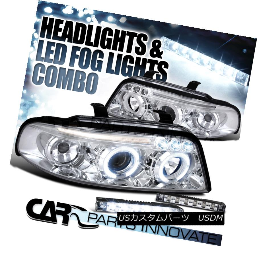 ヘッドライト For Audi 99-01 A4 Clear Dual LED Halo Projector Headlights+Slim 6-LED Fog Lamps Audi 99-01 A4クリア用デュアルLEDハロープロジェクターヘッドライト+スリム m 6-LEDフォグランプ