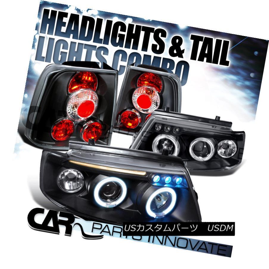 ヘッドライト Fit 98-00 VW Passat 4Dr Black Halo LED Projector Headlights+Tail Brake Lamps フィット98-00 VWパサート4DrブラックハローLEDプロジェクターヘッドライト+タイ lブレーキランプ