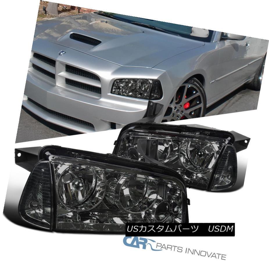 ヘッドライト 2006-2010 Dodge Charger Euro Smoke Headlights Headlamps+Corner Signal Lamps Pair 2006-2010ダッジチャージャーユーロ煙ヘッドライトヘッドランプ+コーン er信号ランプペア