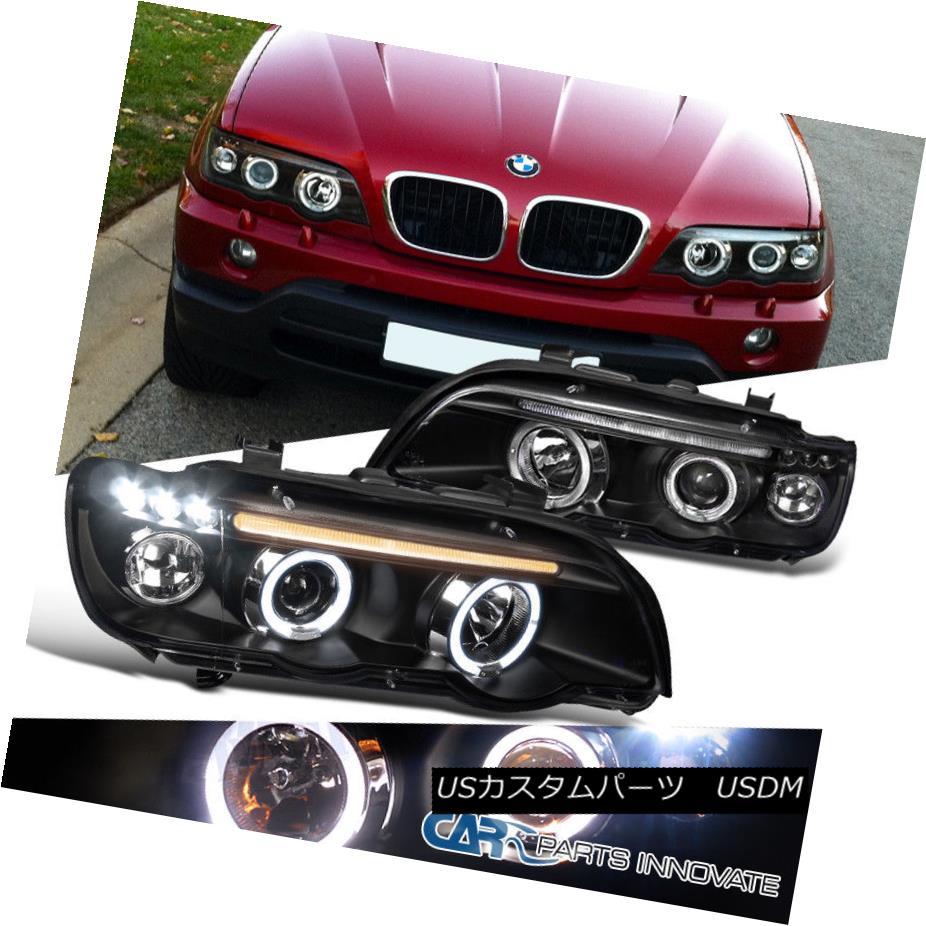 ヘッドライト 01-03 BMW E53 X5 Replacement Dual Halo LED Black Projector Headlights Head Lamps 01-03 BMW E53 X5交換用デュアルヘリオLEDブラックプロジェクターヘッドライトヘッドランプ