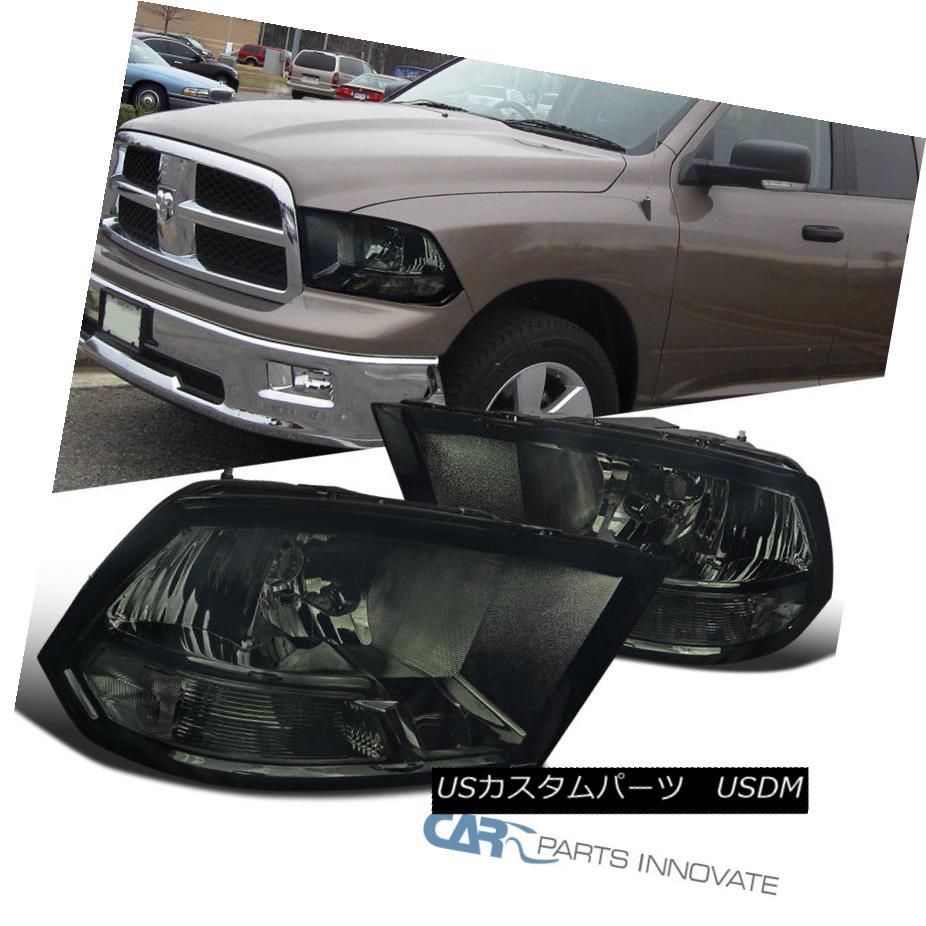 ヘッドライト 2009-2017 Dodge Ram 1500 2500 3500 Smoke Headlights Front Driving Head Lamp Pair 2009-2017 Dodge Ram 1500 2500 3500スモークヘッドライトフロントドライブヘッドランプペア