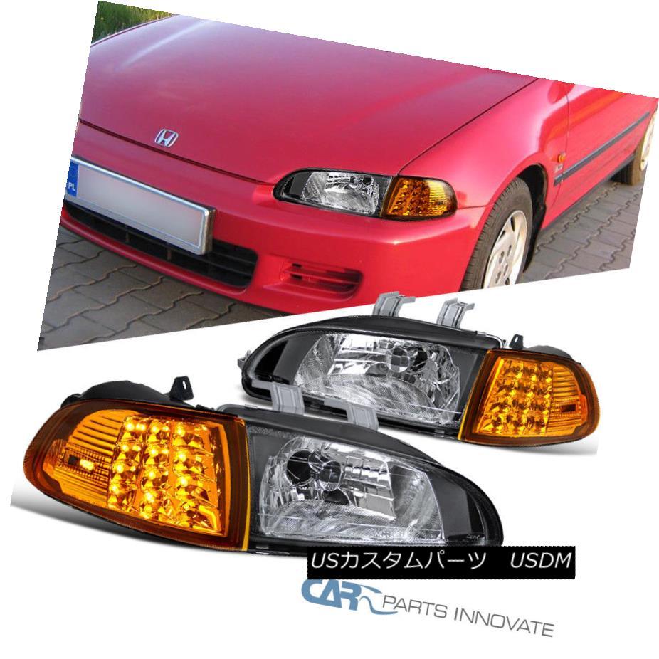 ヘッドライト Fit Honda 92-95 Civic 2/3Dr Black Headlights+Amber LED Corner Turn Signal Lamps フィットホンダ92-95シビック2 / 3Drブラックヘッドライト+アンバー er LEDコーナーターンシグナルランプ