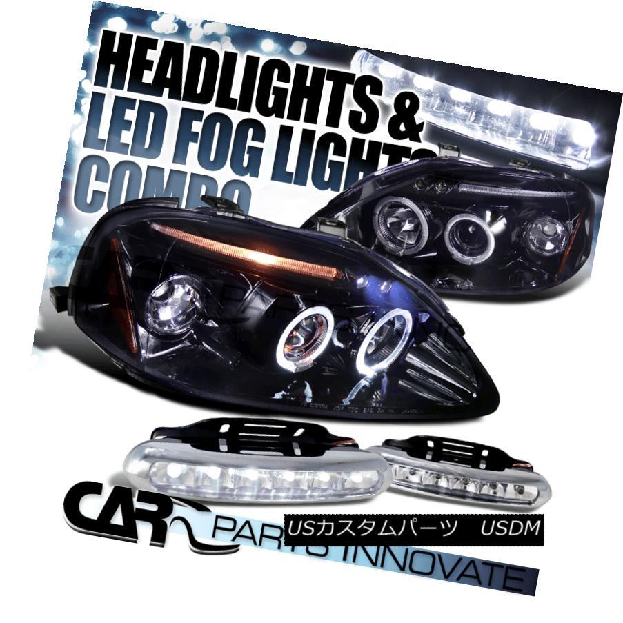 ヘッドライト Glossy Black Fit 99-00 Civic Smoke LED Projector Headlights+6-LED DRL Fog Lamps 光沢ブラックフィット99-00シビックスモークLEDプロジェクターヘッドライト+ 6-L  ED DRLフォグランプ