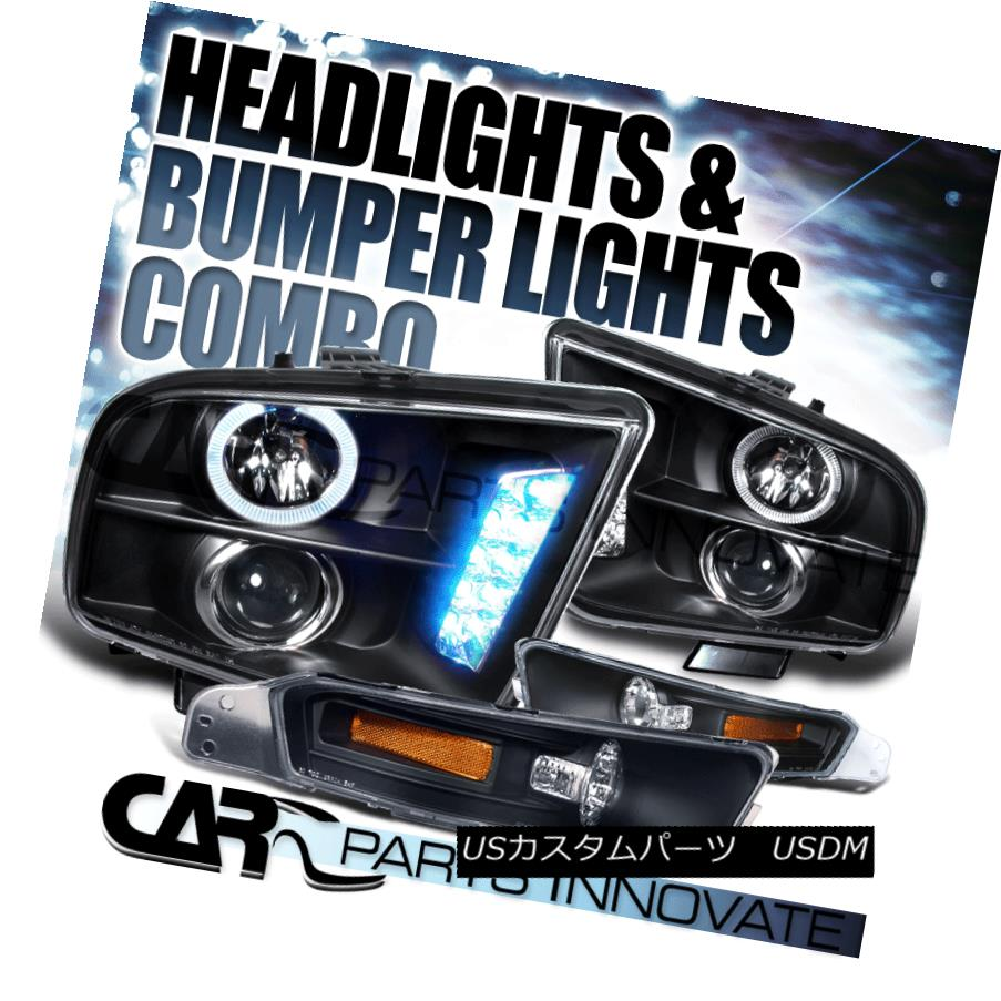 ヘッドライト 05-09 Ford Mustang Replacement Black Halo LED Projector Headlights+Bumper Lamps 05-09 Ford Mustang交換用ブラックHalo LEDプロジェクターヘッドライト+ブーム