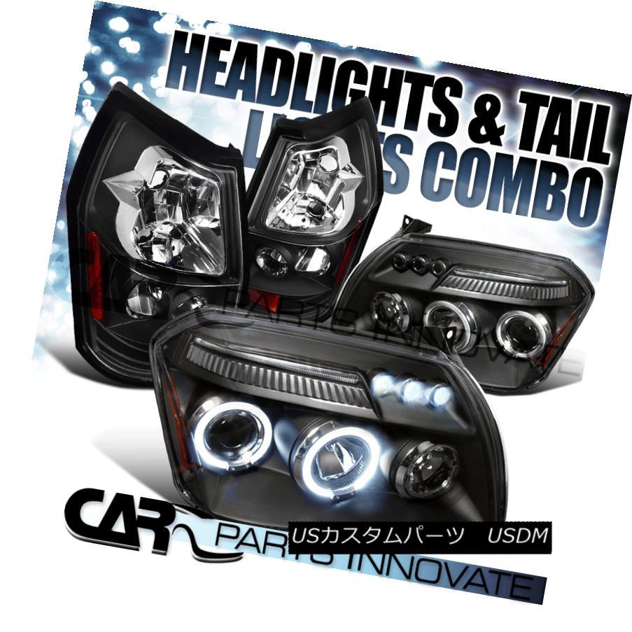 ヘッドライト 05-07 Dodge Magnum Black Twin Halo LED DRL Projector Headlights+Rear Tail Lamps 05-07ダッジマグナムブラックツインハローLED DRLプロジェクターヘッドライト+リア rテールランプ