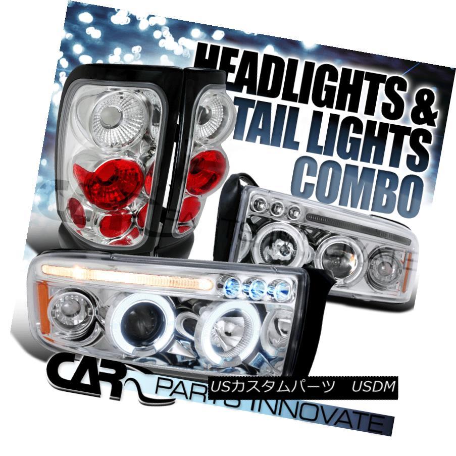 ヘッドライト 94-01 Ram 1500 2500 3500 Halo LED Projector Headlights+Tail Brake Lamp Chrome 94-01 Ram 1500 2500 3500 Halo LEDプロジェクターヘッドライト+タイ lブレーキランプクローム