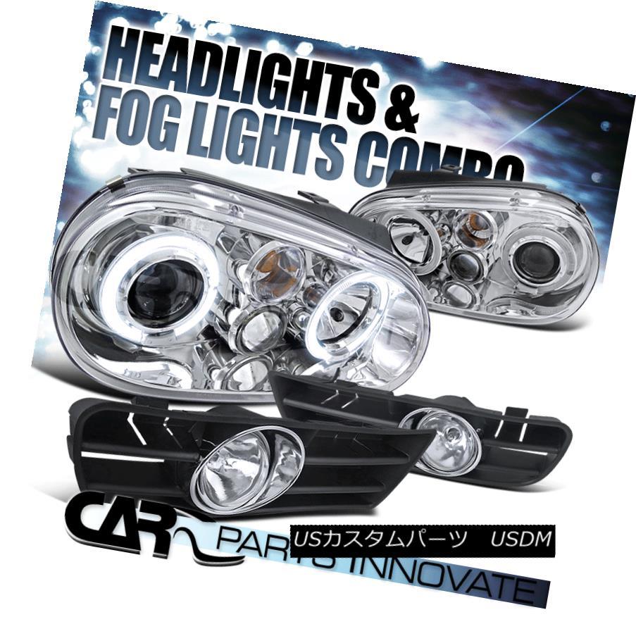 ヘッドライト For 99-04 Golf GTI TDI Mk4 Chrome Halo Projector Headlights+Fog Lamp+Switch 99-04ゴルフ用GTI TDI Mk4クロームハロープロジェクターヘッドライト+フォグランプ+スイッチ