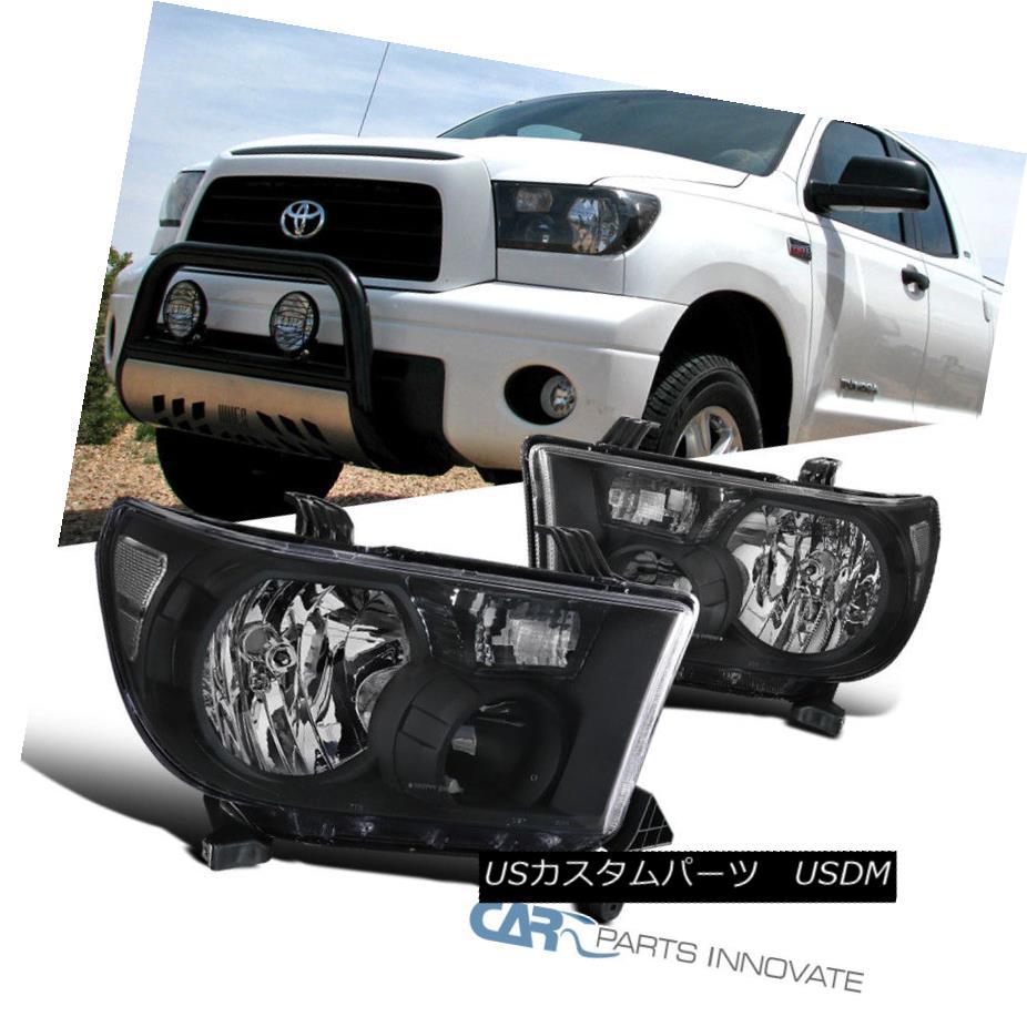 ヘッドライト Fit 07-13 Toyota Tundra 08-14 Sequoia Replacement Black Headlights Head Lamps フィット07-13トヨタ・トンドラ08-14セコイア交換用ブラックヘッドライトヘッドランプ