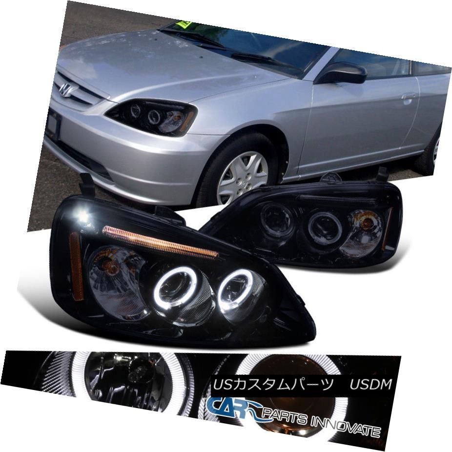 ヘッドライト Glossy Piano Black Fit Honda 01-03 Civic Tinted LED Projector Headlights Lamps 光沢のあるピアノブラックフィットホンダ01-03シビックティンテッドLEDプロジェクターヘッドライトランプ