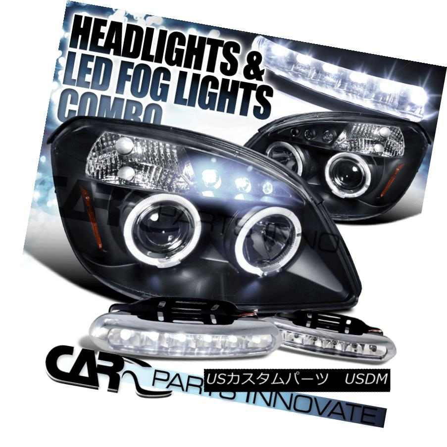 ヘッドライト 05-10 Cobalt 07-09 G5 Black Halo LED Projector Headlights+LED Fog Bumper DRL 05-10コバルト07-09 G5ブラックハローLEDプロジェクターヘッドライト+ LEDフォグバンパーDRL