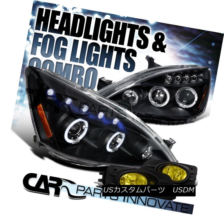 ヘッドライト Fit 06-07 Accord 4Dr Black Halo LED Projector Headlights+Yellow Fog Bumper Lamps フィット06-07アコード4DrブラックハローLEDプロジェクターヘッドライト+イエロー 低フォグバンパーランプ