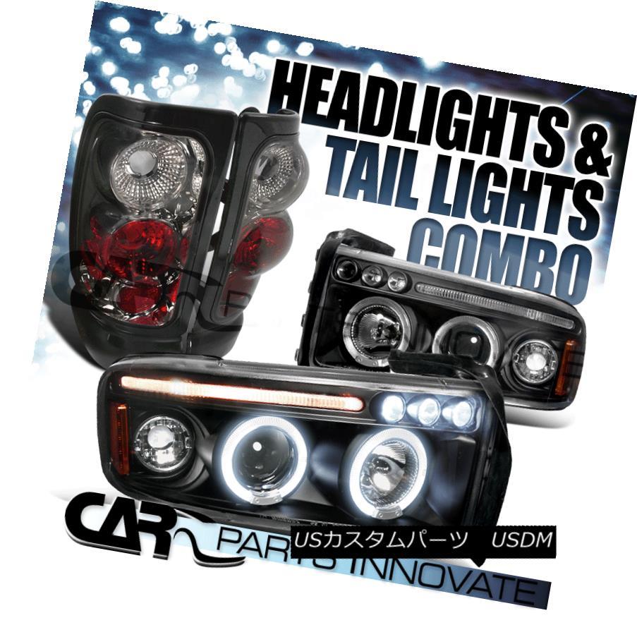 ヘッドライト 94-01 Ram 1500 2500 3500 Halo LED Black Projector Headlights+Smoke Tail Lamp 94-01 Ram 1500 2500 3500 Halo LEDプロジェクターヘッドライト+スモーキー keテールランプ