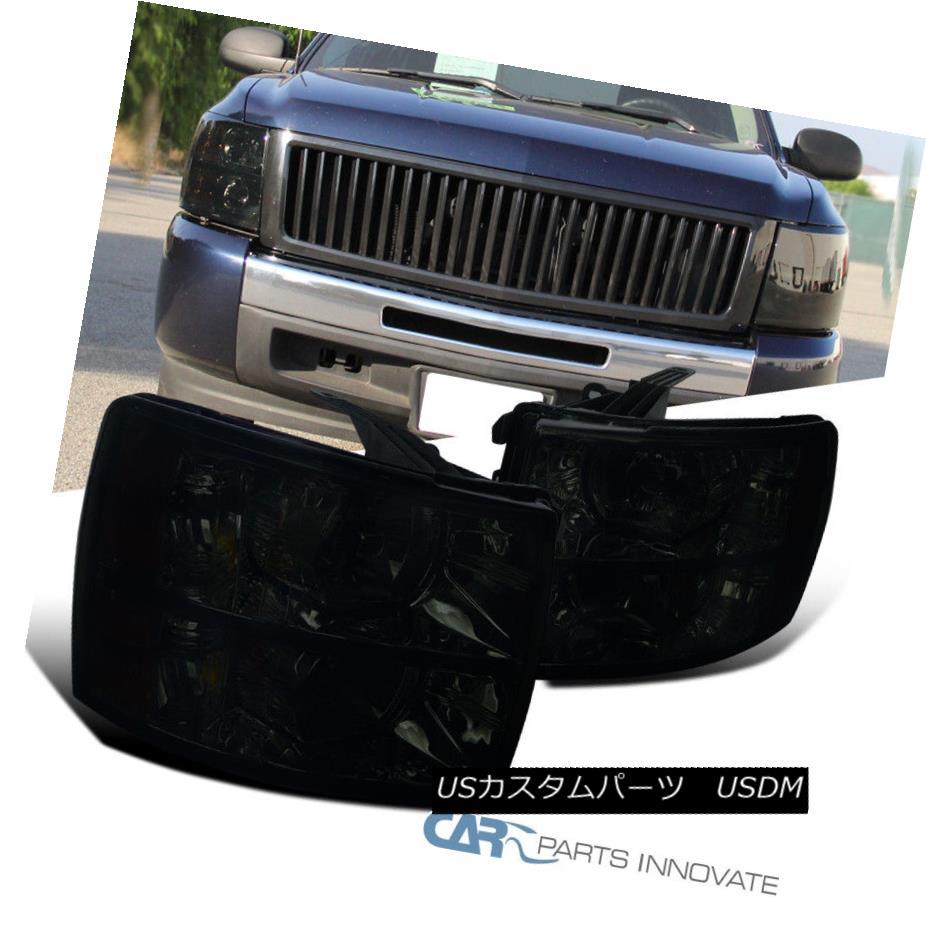 ヘッドライト 07-14 Chevy Silverado 1500 2500 3500 Euro Replacement Smoke Lens Headlights Pair 07-14 Chevy Silverado 1500 2500 3500ユーロ交換用スモークレンズヘッドライトペア