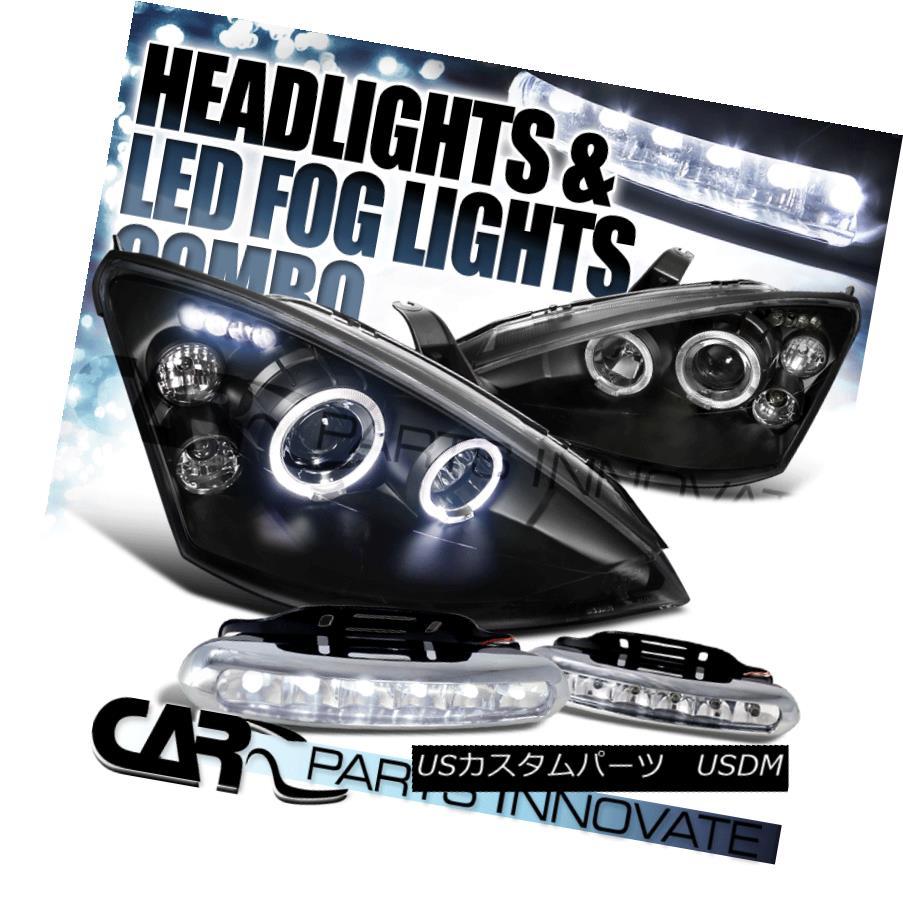 ヘッドライト Ford 00-04 Focus Euro Black Halo Projector Headlights+6-LED Fog Lamps フォード00-04フォーカスユーロブラックハロープロジェクターヘッドライト+ 6-L  EDフォグランプ