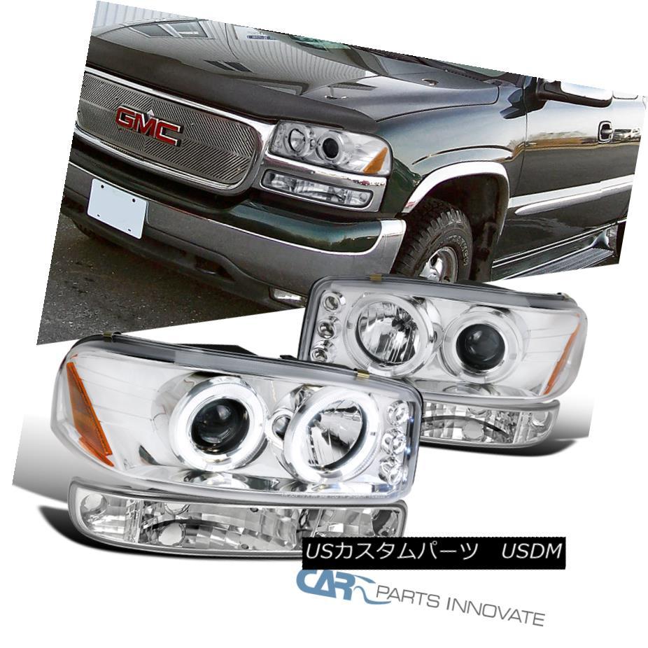 ヘッドライト 99-06 GMC Sierra 00-06 Yukon XL Chrome Halo Projector Headlights+Bumper Lamps 99-06 GMC Sierra 00-06 Yukon XLクロムハロープロジェクターヘッドライト+ブラム /ランプ