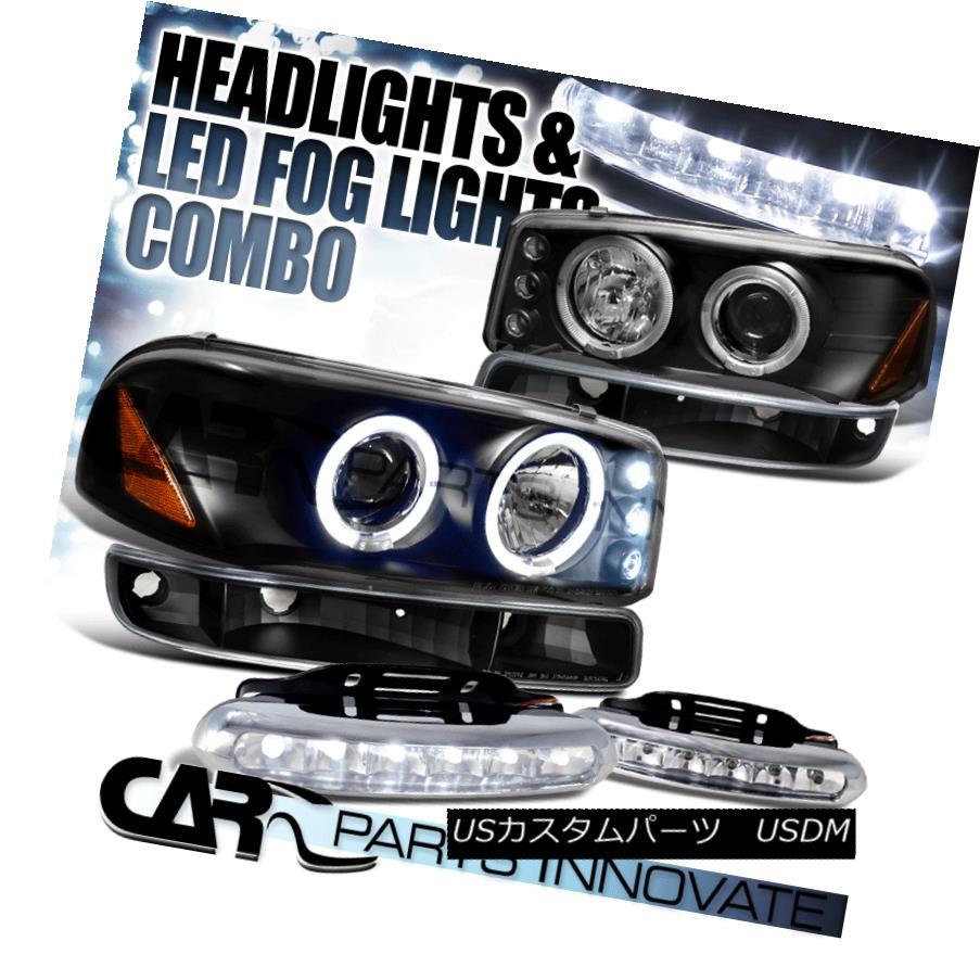 ヘッドライト Sierra 00-06 Yukon XL Black Halo Projector Headlights+Bumper Light+LED Fog Lamps Sierra 00-06 Yukon XLブラックハロープロジェクターヘッドライト+ Bum  Light + LEDフォグランプ