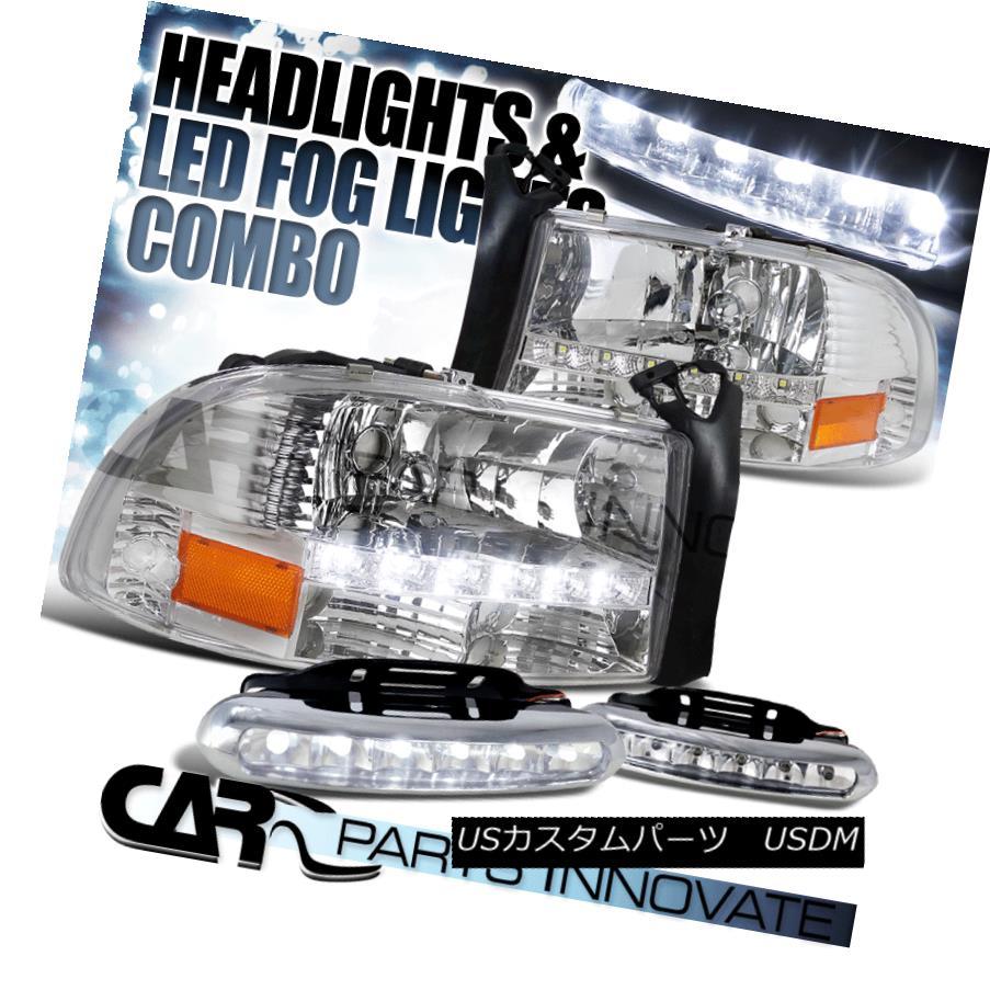 ヘッドライト 97-04 Dodge Dakota Durango Crystal Clear SMD LED Headlights+LED Fog Bumper DRL 97-04 Dodge Dakota DurangoクリスタルクリアSMD LEDヘッドライト+ LEDフォグバンパーDRL
