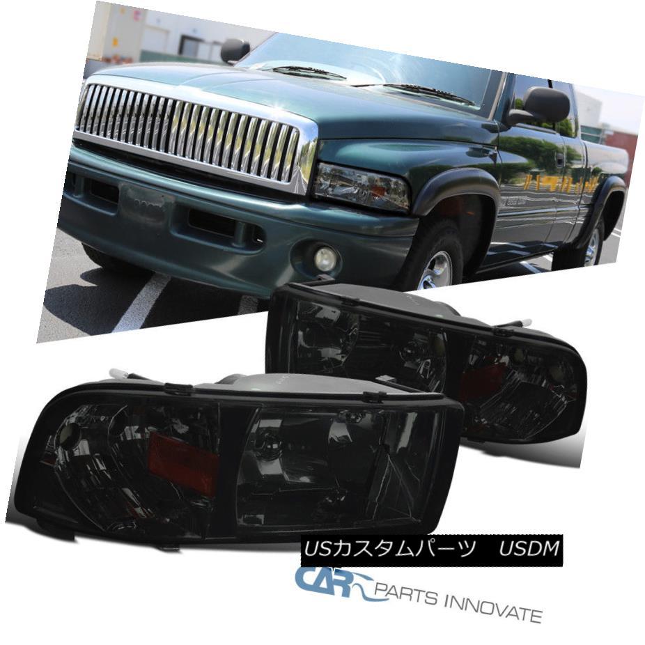 ヘッドライト 94-01 Dodge Ram 1500 2500 3500 Pickup Chrome Smoke Headlights+Corner Lamps Pair 94-01 Dodge Ram 1500 2500 3500ピックアップクロームスモークヘッドライト+ Cor  nerランプペア