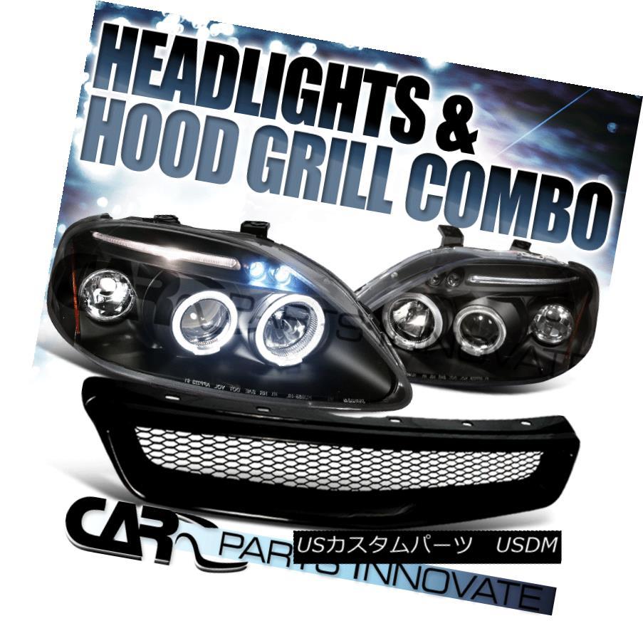 ヘッドライト For 99-00 Honda Civic Black Halo LED Projector Headlights+Front Mesh Hood Grille 99-00ホンダシビックブラックハローLEDプロジェクター用ヘッドライト+  ntメッシュフードグリル用