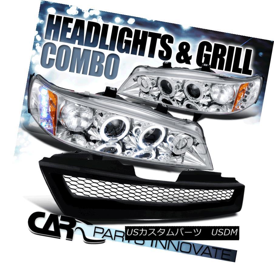 ヘッドライト For 94-97 Accord 2/4Dr Chrome Halo Projector Headlights w/ Mesh Hood Grille メッシュフードグリル付き94-97 Accord 2 / 4Drクロームハロープロジェクターヘッドライト用