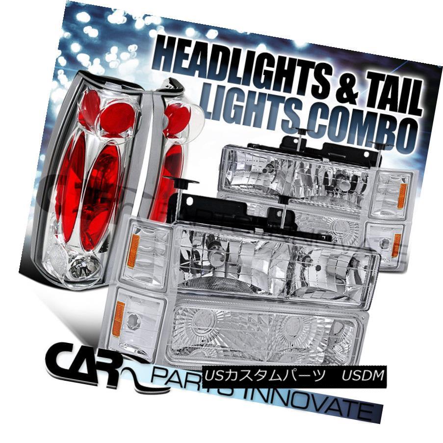 ヘッドライト 94-99 Chevy Suburban Pickup Chrome Headlights+Bumper Corner+Clear Tail Lamp 94-99シボレー郊外ピックアップクロームヘッドライト+ブーン コーナー+クリアテールランプ