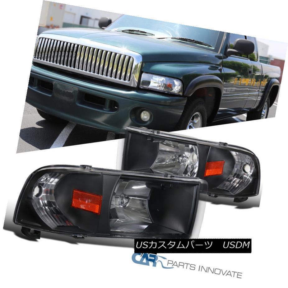 ヘッドライト 94-01 Dodge Ram Pickup 1500 2500 3500 Black Headlights+Corner Signal Lamps Pair 94-01ダッジ・ラム・ピックアップ1500 2500 3500ブラック・ヘッドライト+コルク ner信号ランプ・ペア