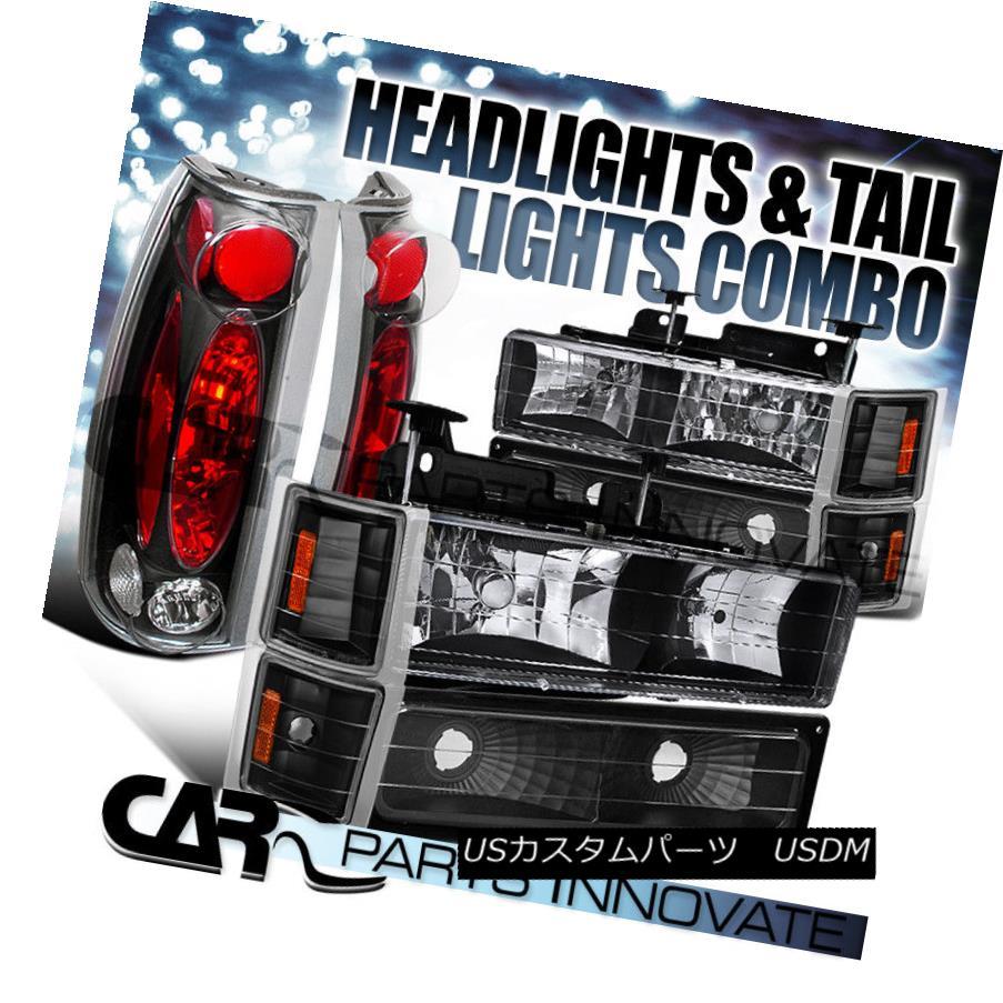 ヘッドライト 94-98 Silverado Tahoe Euro Black Headlights+Bumper Corner+Tail Brake Lamps 94-98 Silverado Tahoeユーロブラックヘッドライト+ Bum コーナー+テールブレーキランプ