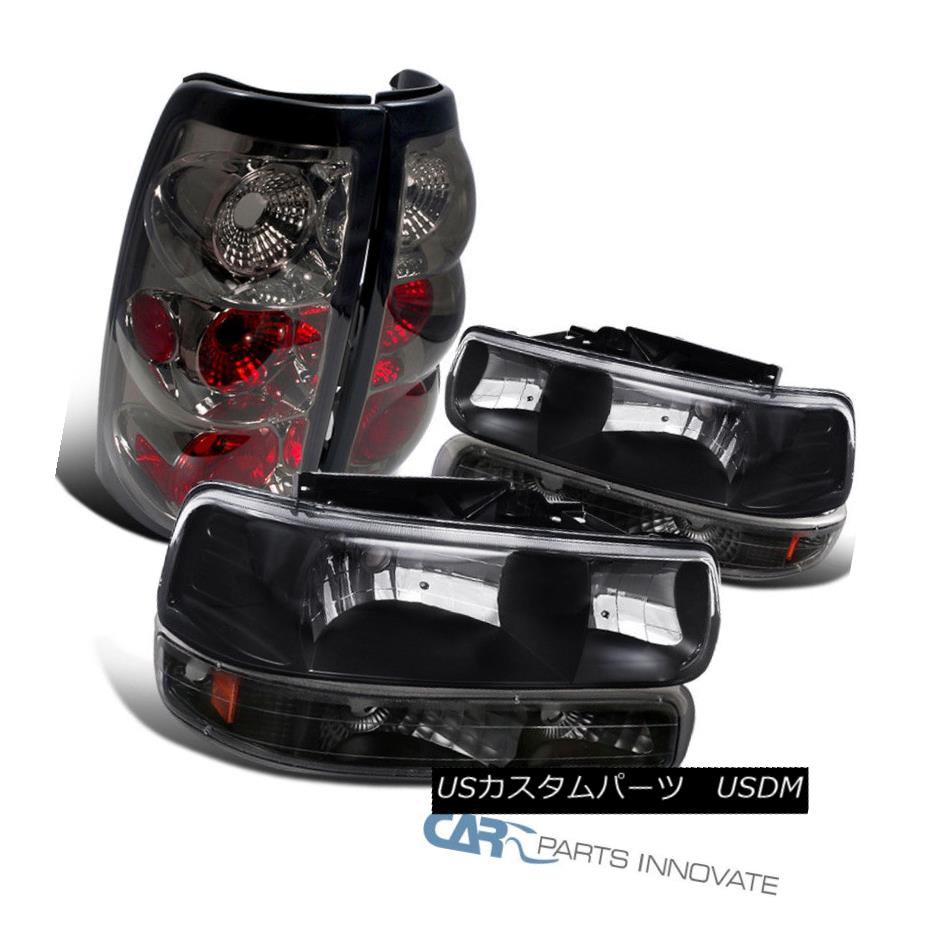 ヘッドライト Chevy 99-02 Silverado Fleetside Black Headlights+Bumper Lamps+Smoke Tail Lights Chevy 99-02 Silverado Fleetsideブラックヘッドライト+バーン ランプ+煙テールライト
