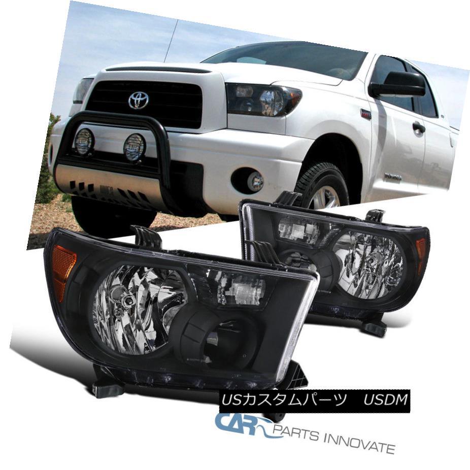 ヘッドライト For 07-13 Toyota Tundra 08-14 Sequoia Replacement Black Headlights Head Lamps 07-13トヨタトンドラ08-14セコイア交換用ブラックヘッドライトヘッドランプ