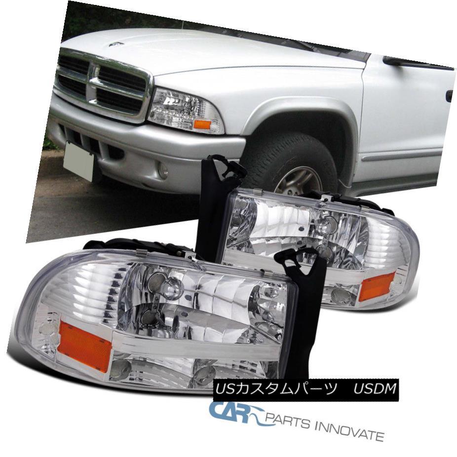 ヘッドライト 1997-2004 Dodge Dakota Durango Chrome Clear 1PC Headlights Head Lamps Left+Right 1997-2004ダッジダコタデュランゴクロームクリア1PCヘッドライトヘッドランプ左+右