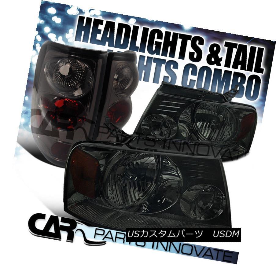 ヘッドライト Ford 04-05 F150 Crystal Smoke Headlights+Rear Tint Tail Brake Lamps フォード04-05 F150クリスタルスモークヘッドライト+リア rティントテールブレーキランプ
